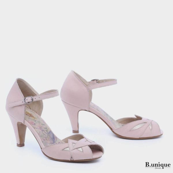 177554 - נעלי עקב מרסיי בצבע פודרה