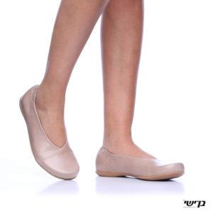 1160 - נעליים בלרינה אלכסון בצבע נס קפה