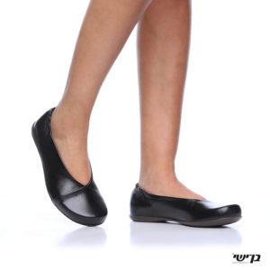 1160 - נעליים בלרינה אלכסון בצבע שחור