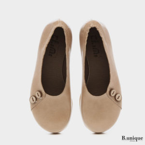 נעליים בלרינה כפתורים בצבע נס קפה