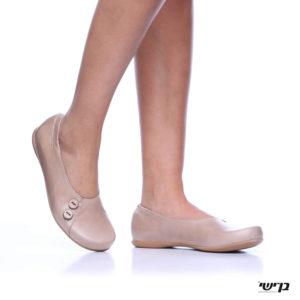1406 - נעליים בלרינה כפתורים בצבע בז'