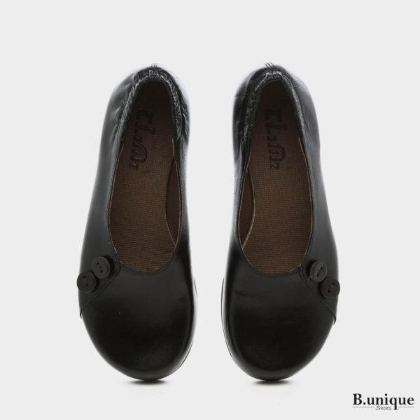 נעליים בלרינה כפתורים בצבע שחור
