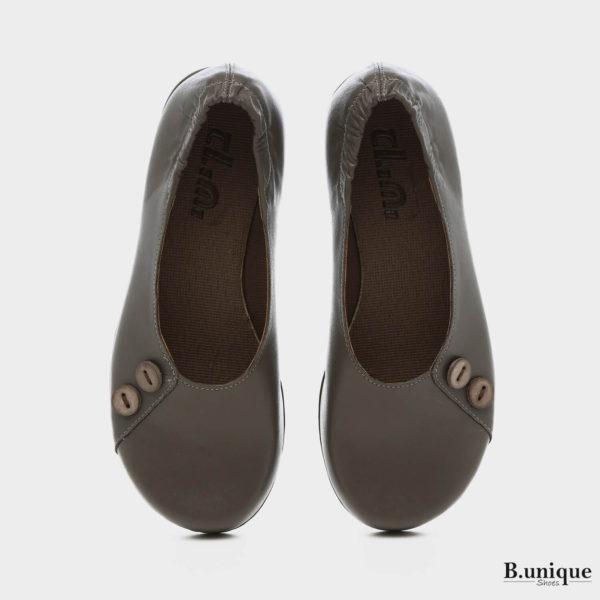 1406 - נעליים בלרינה כפתורים בצבע אפור