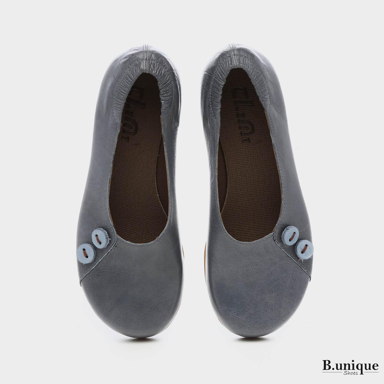 נעליים בלרינה כפתורים בצבע ג'ינס