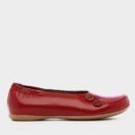 נעליים בלרינה כפתורים בצבע אדום דובדבן