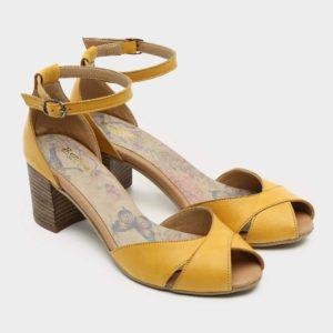 176055 - סנדלי עקב דלאס בצבע צהוב