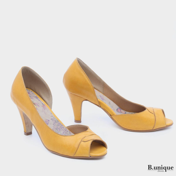 177531 - נעלי עקב סיאטל בצבע צהוב