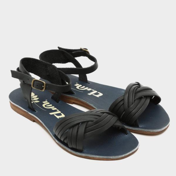 371556 - סנדלים שטוחות אגאדיר בצבע שחור