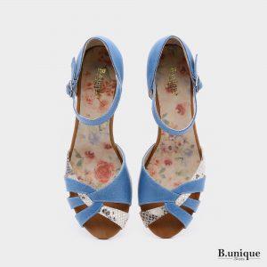 בלעדי לאתר: 176016 - סנדלי עקב פואבלה בצבע ג'ינס