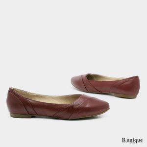 דגם האנה: נעלי בובה קלאסיות בצבע בורדו