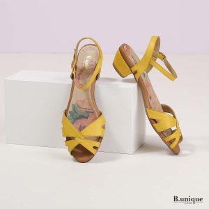 בלעדי לאתר - דגם לקסי: סנדלים בצבע צהוב