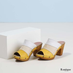 בלעדי לאתר - דגם ג'סיקה: כפכף צהוב משולב צבעים