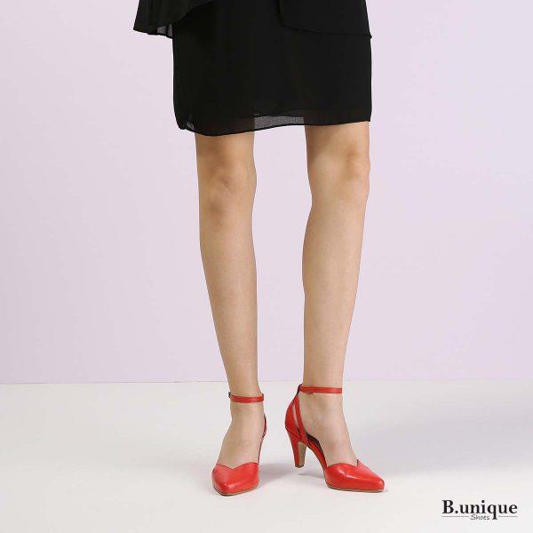 דגם אוולין: נעלי עקב בצבע אדום