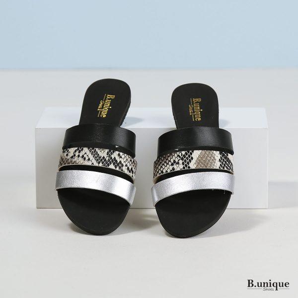 דגם אלונה: כפכפים בצבעי שחור וכסף
