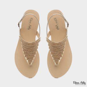 דגם יהלומים: סנדלים בצבע זהב