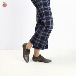 בלעדי לאתר - דגם אנדורה: נעלי אוקספורד טבעוניות בצבע ירוק זית - MIZU