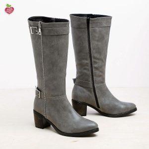 דגם גרייסלנד: מגפיים טבעוניים לנשים בצבע אפור - MIZU
