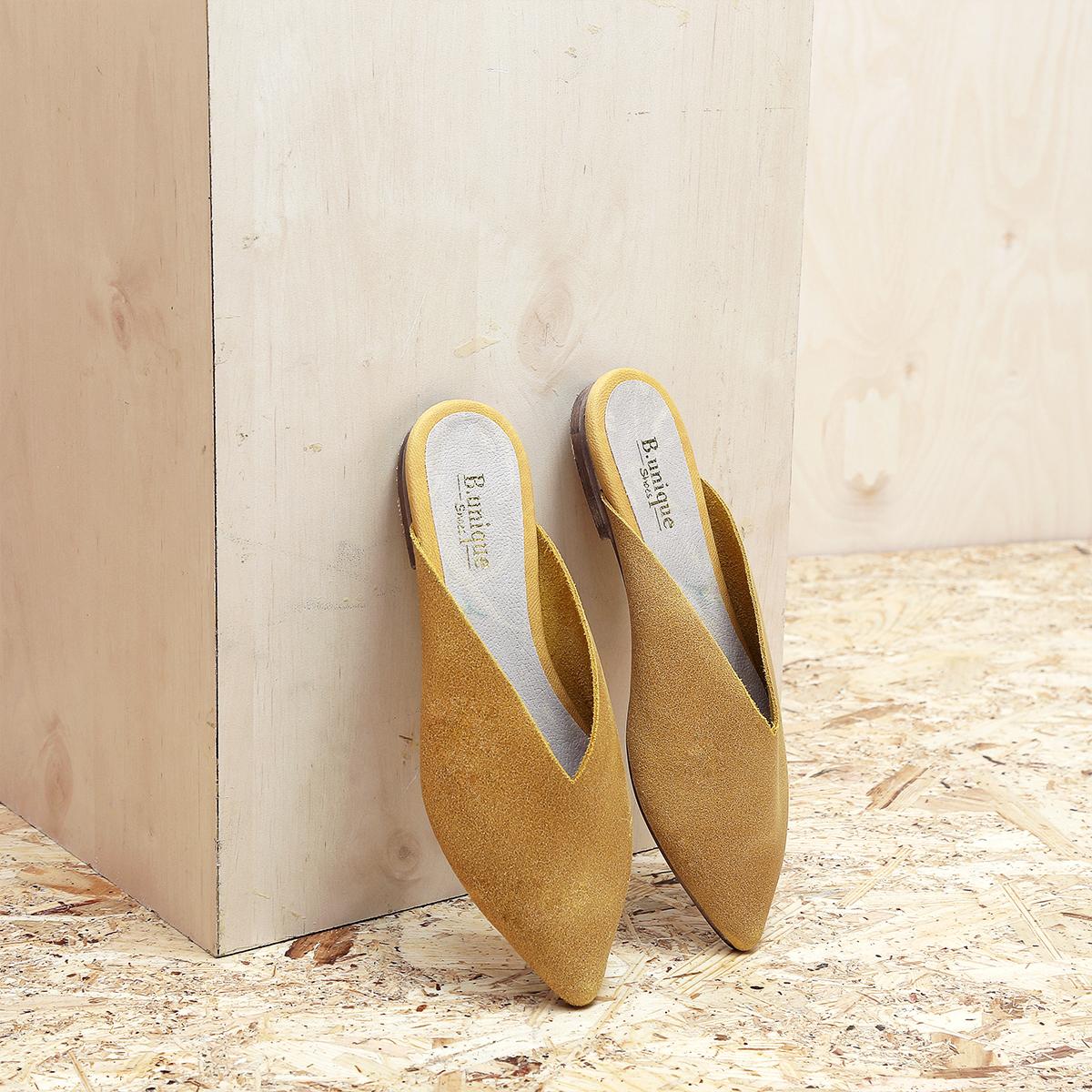 דגם קוקו - כפכפים מעוצבים לנשים בצבע חרדל - B.unique