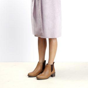 דגם סוואנה: מגפוני עור לנשים בצבע קאמל – B.unique