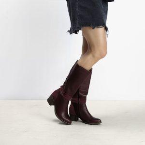 דגם קנדה: מגפי נשים מעור בצבע בורדו – B.unique