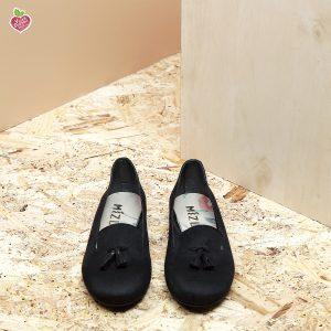 דגם צ'סטר: נעלי בובה טבעוניות בצבע שחור - MIZU