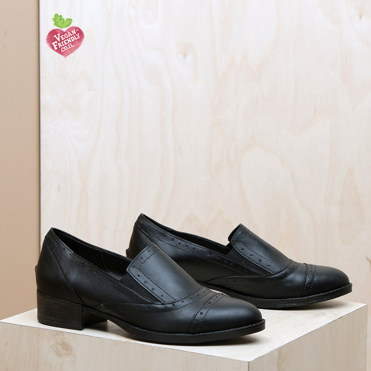 דגם פירנצה: נעלי אוקספורד טבעוניות בצבע שחור