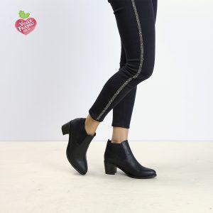 דגם יוהנסבורג: מגפונים טבעוניים לנשים עם גומי רחב בצבע שחור - MIZU