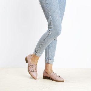 בלעדי לאתר - דגם ציריך: נעלי אוקספורד לנשים בצבע ורוד - B.unique