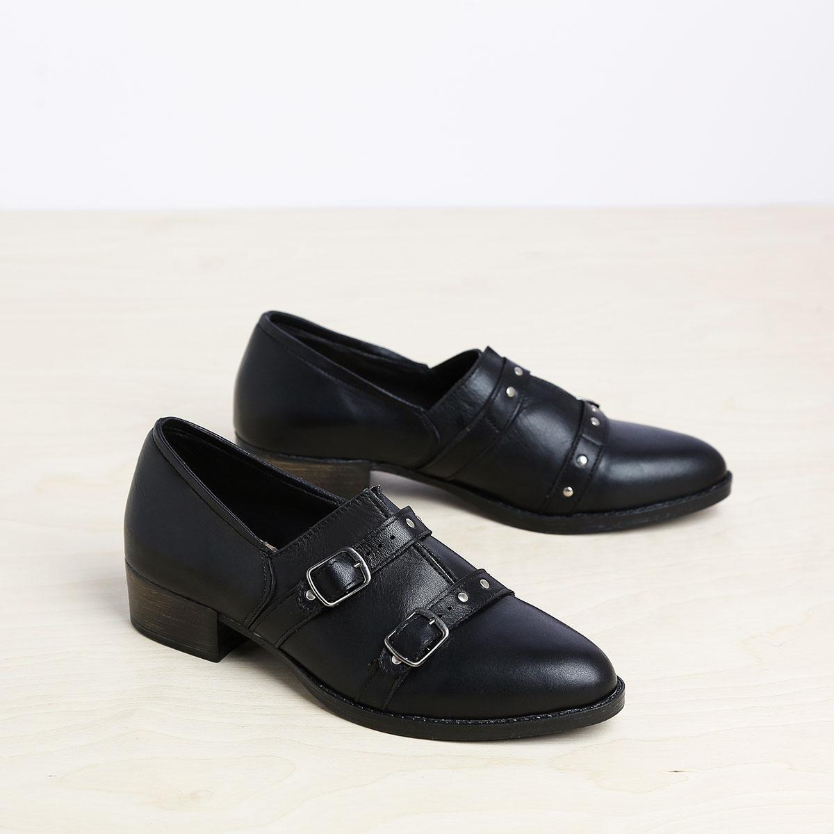 בלעדי לאתר - דגם ציריך: נעלי אוקספורד לנשים בצבע שחור