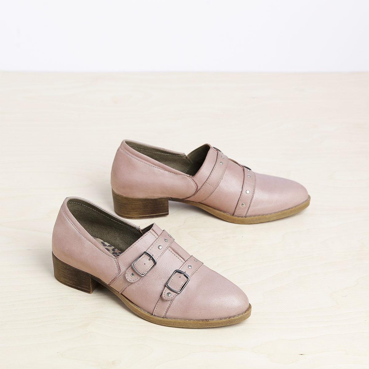 בלעדי לאתר - דגם ציריך: נעלי אוקספורד לנשים בצבע ורוד