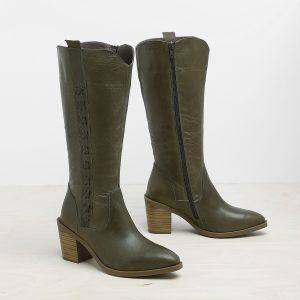 דגם קוס: מגפיים לנשים בצבע ירוק זית – B.unique