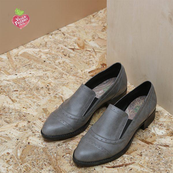 דגם פירנצה: נעלי אוקספורד טבעוניות בצבע אפור - MIZU