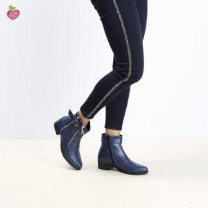 דגם מרילנד: מגפונים טבעוניים לנשים בעיטור אבזמים ורוכסנים בצבע כחול - MIZU
