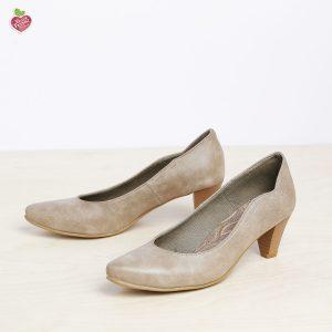 בלעדי לאתר - דגם טורין: נעלי בובה טבעוניות לנשים בצבע טאופ - MIZU