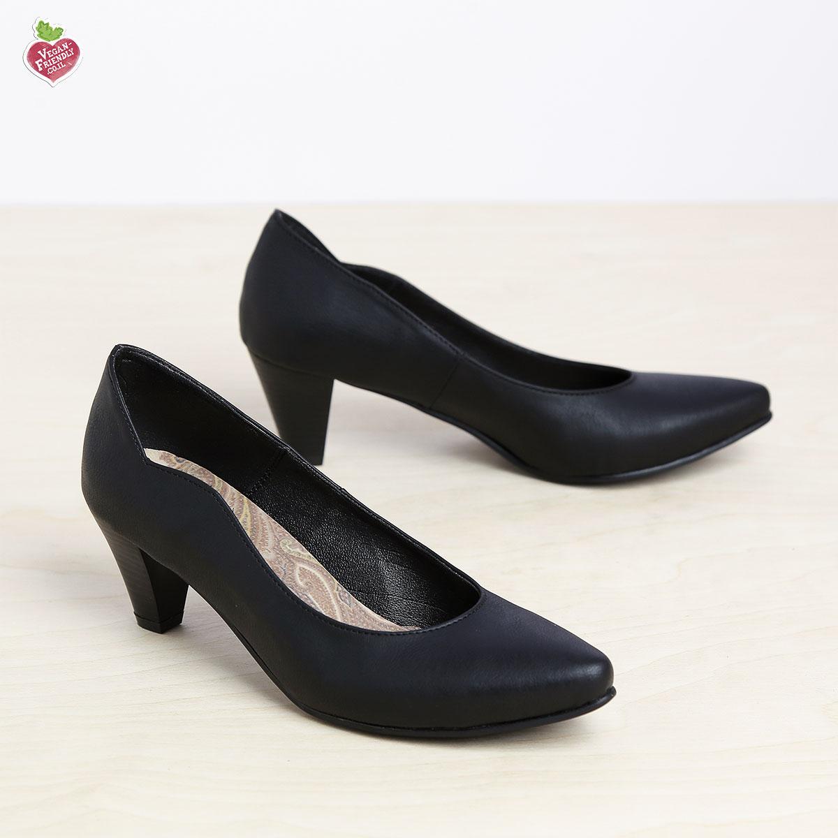בלעדי לאתר - דגם טורין: נעלי בובה טבעוניות לנשים בצבע שחור