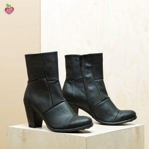 דגם דנוור: מגפוני עקב טבעוניים לנשים בצבע שחור – MIZU