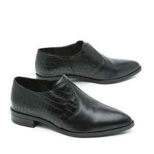 בלעדי לאתר - דגם ניו יורק: נעלי אוקספורד בצבע שחור- B.unique