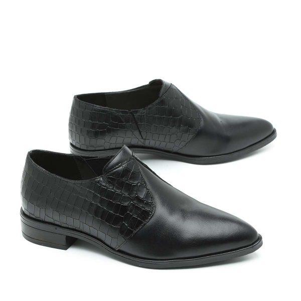 בלעדי לאתר - דגם ניו יורק: נעלי אוקספורד בצבע שחור