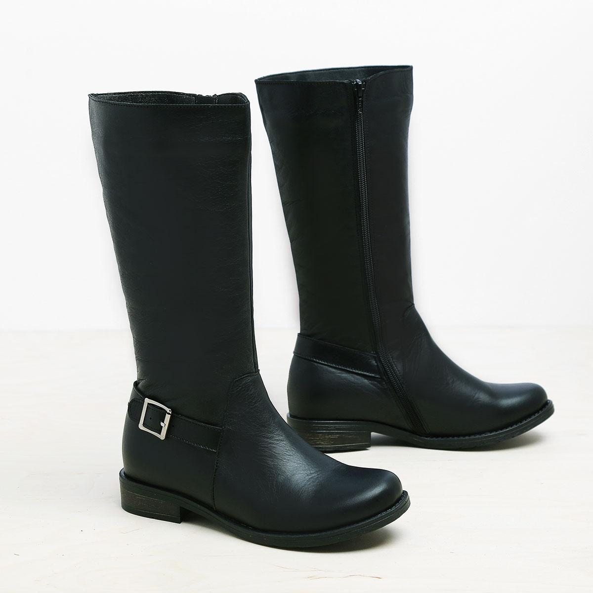דגם אוסטין: מגפיים מעור לנשים בצבע שחור