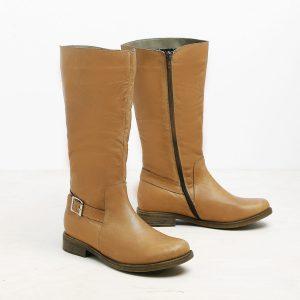 דגם אוסטין: מגפיים מעור לנשים בצבע קאמל – B.unique