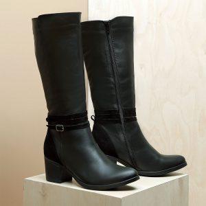 דגם קנדה: מגפי נשים מעור בצבע שחור – B.unique