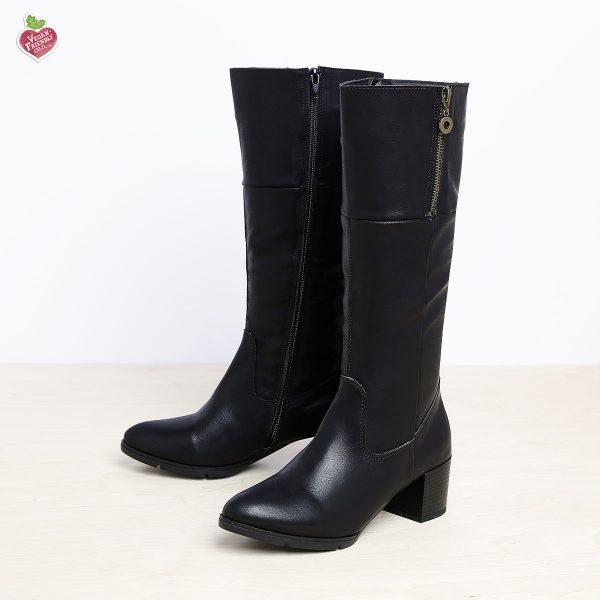 בלעדי לאתר - דגם פייטון: מגפיים טבעוניים לנשים בצבע שחור - MIZU