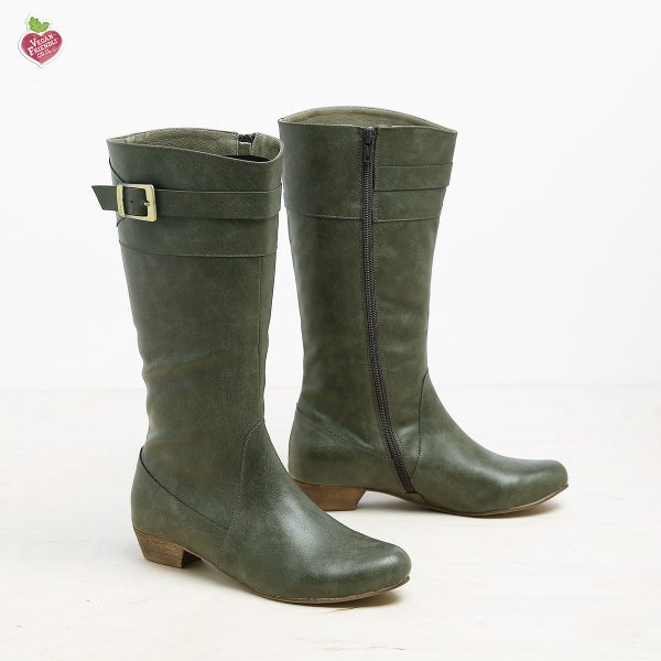 דגם דאגלס: מגפיים טבעוניים לנשים בצבע ירוק זית - MIZU
