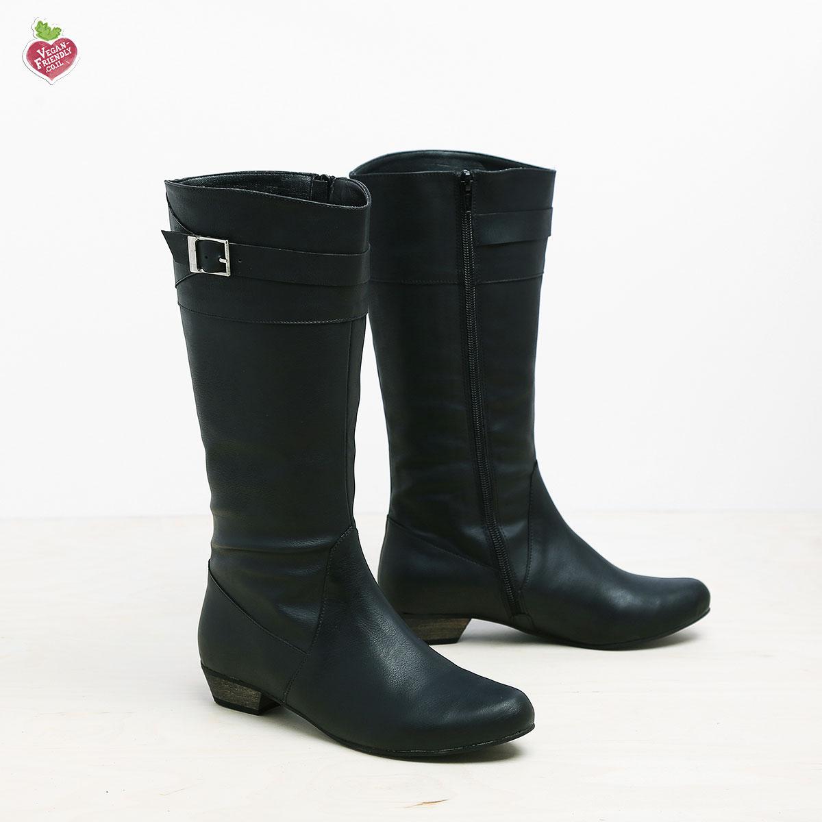 דגם דאגלס: מגפיים טבעוניים לנשים בצבע שחור
