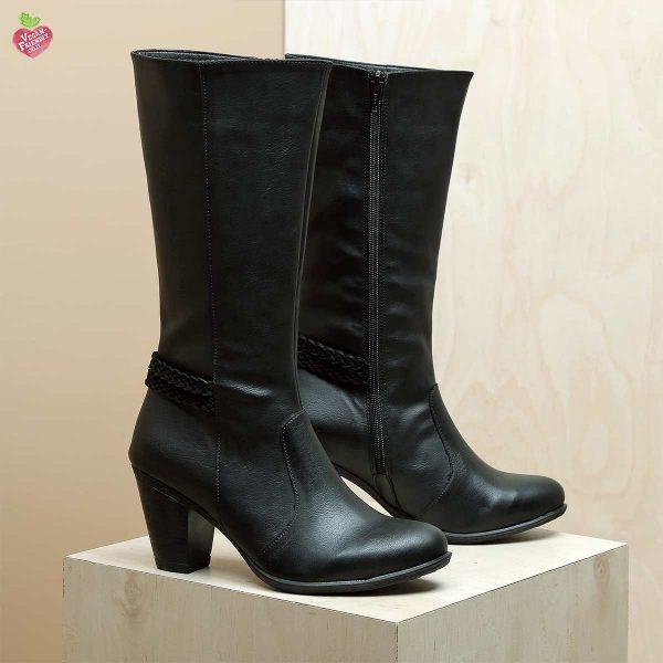 דגם וינה: מגפיים טבעוניים לנשים בצבע שחור – MIZU