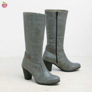 דגם וינה: מגפיים טבעוניים לנשים בצבע אפור – MIZU