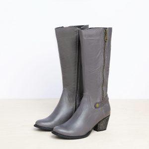 דגם המבורג: מגפיים לנשים בצבע אפור - B.unique