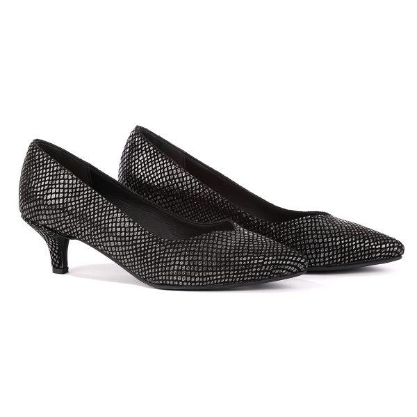 דגם ג'רזי: נעלי עקב בצבע שחור וכסף - B.unique