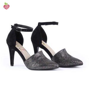דגם יוסטון: נעלי עקב טבעוניות בצבע שחור נצנץ - MIZU