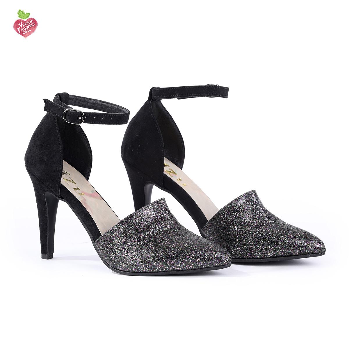 דגם יוסטון: נעלי עקב טבעוניות בצבע שחור נצנץ